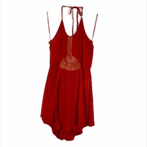 Jealous Tomato Red Halter Style Romper Large